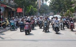 Un bon nombre de motocyclettes en Asie Image stock