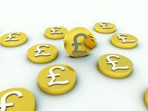 Un bon nombre de pièces de monnaie de livre britannique illustration de vecteur