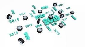 Un bon nombre de roue 2019 de sport conçoit avec plusieurs roues illustration de vecteur