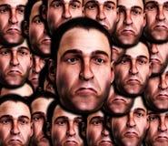 Un bon nombre de visages mâles très tristes Photographie stock libre de droits