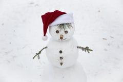 Un bonhomme de neige de sourire dans le chapeau rouge de Santa Claus Photo stock