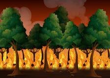 Un bosque con desastre del incendio fuera de control Imagen de archivo libre de regalías