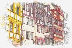 Un bosquejo de la acuarela o un ejemplo de la arquitectura alemana tradicional en Nuremberg en Alemania