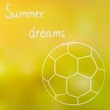 Un bosquejo de la bola en la hierba del verano en un día de verano soleado, soñando sobre verano, tiempo de verano ilustración del vector