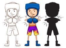 Un bosquejo de un boxeador de sexo masculino en tres diversos colores Fotografía de archivo libre de regalías