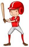 Un bosquejo de un jugador de béisbol que celebra un palo Imagen de archivo