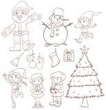 Un bosquejo llano de una celebración de la Navidad Fotos de archivo