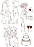 Un bosquejo llano de una ceremonia de boda Fotografía de archivo libre de regalías