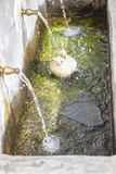 Un botijo est rempli avec de l'eau l'eau douce à la fontaine publique chez Alpuja Photo stock