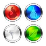 Un bottone di quattro elementi naturali Fotografia Stock