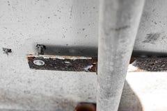Un boulon avec un joint attache un tube au mur, foyer mou photographie stock