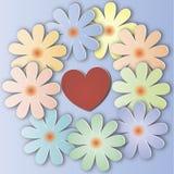Un bouquet des fleurs avec un coeur Photos stock