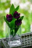 Un bouquet des fleurs sur un fond de feu vert Tulipes violettes dans un vase Endroit pour votre texte Vue de l'hublot photo stock