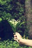 Un bouquet des lis de la vallée dans la main d'une femme Image stock