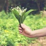Un bouquet des lis de la vallée dans la main d'une femme Photo libre de droits