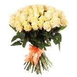 Un bouquet des roses blanches fraîches d'isolement sur le fond blanc Images libres de droits