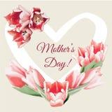 Un bouquet des tulipes avec des coeurs Carte de vecteur de jour du ` s de mère Photos libres de droits