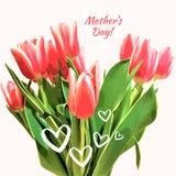 Un bouquet des tulipes avec des coeurs Carte de vecteur de jour du ` s de mère Fond de source Image libre de droits