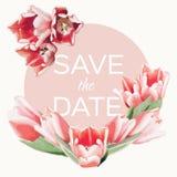 Un bouquet des tulipes avec des coeurs Carte de vecteur Invitation de mariage ou d'anniversaire avec des fleurs Images stock