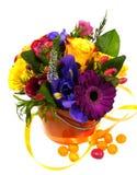 Un bouquet lumineux d'isolement avec les roses jaunes Images libres de droits