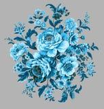 Un bouquet rond des pivoines bleues illustration de vecteur