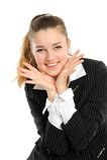 Un brunette attraente sorridente immagine stock libera da diritti