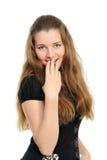 Un brunette sorprendido con el pelo largo imagen de archivo libre de regalías