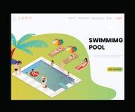 Un buen concepto isométrico de las ilustraciones de la piscina del centro turístico imagen de archivo libre de regalías