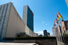 United Nations, New York city. UN building, New York city, with flags of all member countries stock images