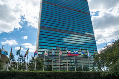 United Nations, New York city. UN building, New York city, with flags of all member countries royalty free stock images