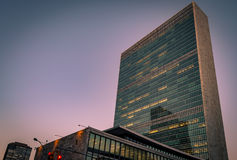 UN building in New York. United Nations headquarters (UN building ) at sunset in Midtown Manhattan,  New York city, USA Royalty Free Stock Photo
