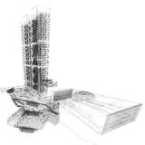 UN Building Wireframe Royalty Free Stock Photo