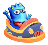 Un bumpcar avec un monstre bleu Photographie stock libre de droits