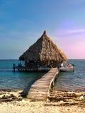 Un bungalow dell'sovra-acqua nell'atollo del glover, Belize fotografie stock libere da diritti