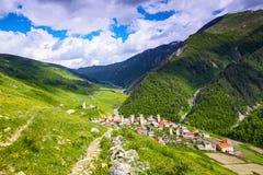 Un buon piccolo villaggio georgiano Fotografia Stock Libera da Diritti