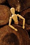 Un burattino di legno che esce Fotografia Stock Libera da Diritti