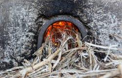 Un burning de la basura de la caña de azúcar Fotografía de archivo libre de regalías