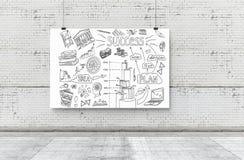 Un business plan attinto un'insegna 3d rendono gli elementi in collage immagini stock