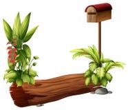 Un buzón y un pedazo de madera seco ilustración del vector