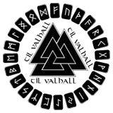 Un círculo de los tablones para ponerlos en las runas escandinavas, muestra del final del futhark de Odin - Walknut stock de ilustración