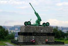 Un cañón Soviet-hecho de los hormiga-aviones de la Segunda Guerra Mundial fotos de archivo libres de regalías