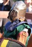 Un caballero medieval en retrato de la batalla Imágenes de archivo libres de regalías