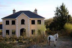 Un caballo al lado de una mansión vacía imágenes de archivo libres de regalías