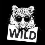 Un cachorro de tigre hermoso con vidrios y un lazo Vector el ejemplo para una postal o un cartel, impresión para la ropa y los ac ilustración del vector