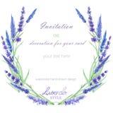 Un cadre de cercle, la guirlande, frontière de cadre avec la lavande d'aquarelle fleurit, épousant l'invitation Photo stock