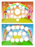 Un cadre de photo d'un arc-en-ciel et d'un ballon dans le ciel Douze mois de développement Illustration horizontale pour votre co illustration stock