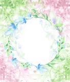 Un cadre rond d'aquarelle, une carte postale, une guirlande des fleurs, brindilles, usines, baies Illustration de cru Utilisation illustration de vecteur