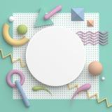 Un cadre rond de frontière avec un espace de copie sur le fond blanc Composition abstraite dans des couleurs en pastel avec des f illustration libre de droits