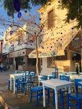 Un café d'air ouvert d'île touristique de Cunda Alibey de ville, Ayvalik C'est une petite île en mer Égée du nord-ouest, outre de image stock