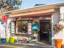 Un café et un restaurant de rue autour de ville de Séoul, Corée image libre de droits